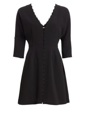 Joslyn Button-Front 3/4-Sleeve Short Dress, Black