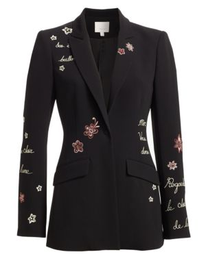 Estelle Embroidered One-Button Jacket, Black Multi