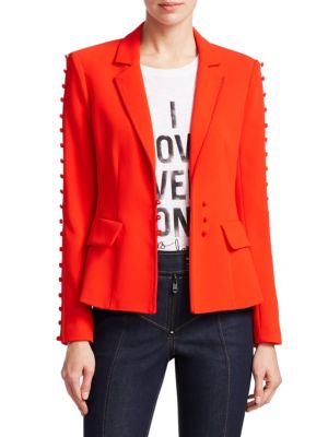 Cinq A Sept Button Embellished Fitted Blazer - Red, Grenadine