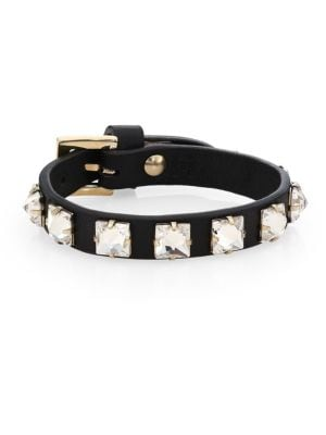 Leather Crystal Studded Bracelet by Valentino