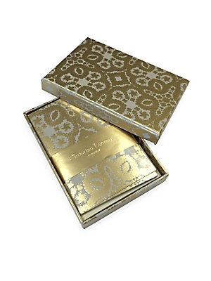 "Image of Ornate gold foil correspondence cards with ivory reverse 12 cards and 12 envelopes Envelopes feature Paseo gold foil interior Six gold foil and six silver foil envelope seal stickers Hot-stamped gift box 3.25""W x 4.75""H Paper Imported. Gifts - Books And M"