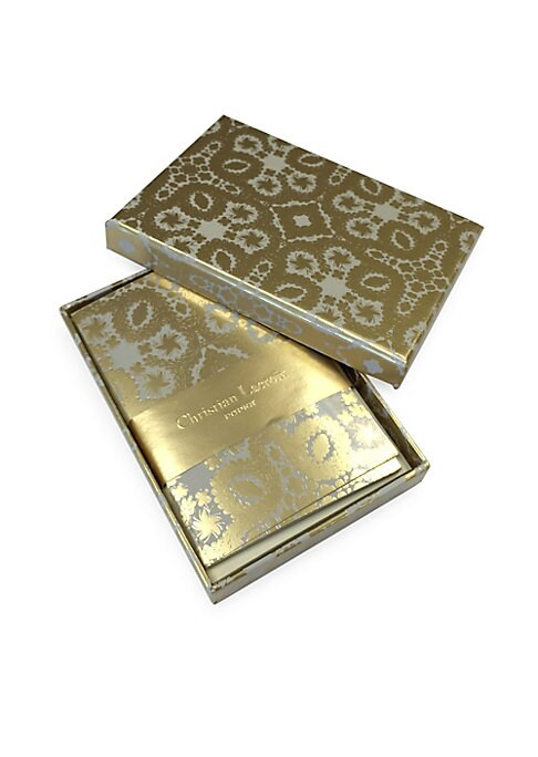 """Image of Ornate gold foil correspondence cards with ivory reverse.12 cards and 12 envelopes. Envelopes feature Paseo gold foil interior. Six gold foil and six silver foil envelope seal stickers. Hot-stamped gift box.3.25""""W x 4.75""""H.Paper. Imported."""