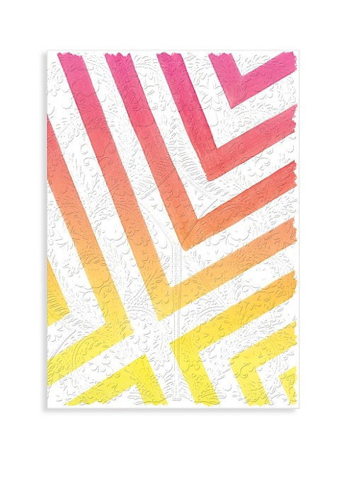 """Image of Journal in signature watercolor pattern pairs neon color stripes with Paseo design.128 lined pages. Gilded page edges. Black and white ribbon marker. Coordinates with Neon Ombre Paseo notebooks, notecards and sticky notes. Solid color liner.6""""W x 8.5""""H.Pa"""