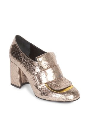 Metallic Heeled Loafers in Silver