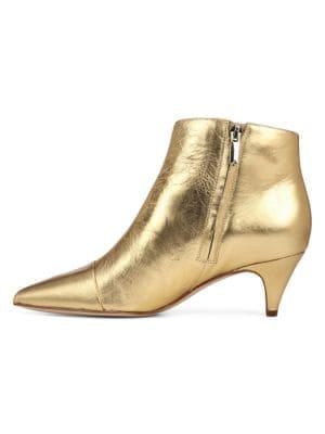 Kinzey Metallic Leather Kitten-Heel Booties in Bright Gold
