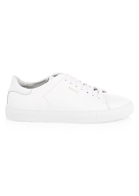 Image of Minimalist sneakers make for versatile footwear. Leather upper. Round toe. Lace-up vamp. Leather lining. Rubber sole. Imported.