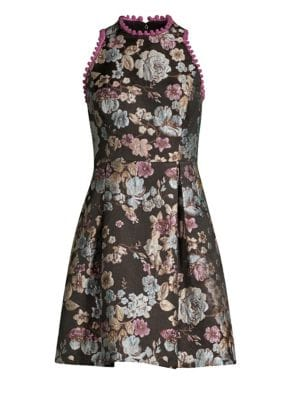 LAUNDRY BY SHELLI SEGAL Brocade Fit-&-Flare Dress in Black Multi