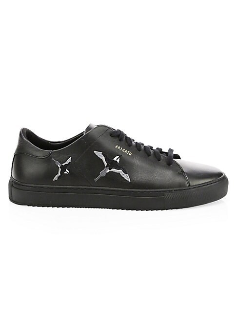 Image of Stunning bird embroidery lends artistry to these sleek leather sneakers. Leather upper. Round toe. Lace-up vamp. Leather lining. Rubber sole. Imported.