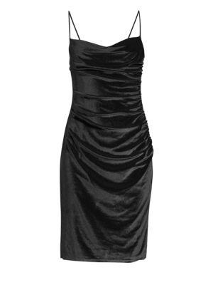 LAUNDRY BY SHELLI SEGAL Velvet Cocktail Slip Dress in Black