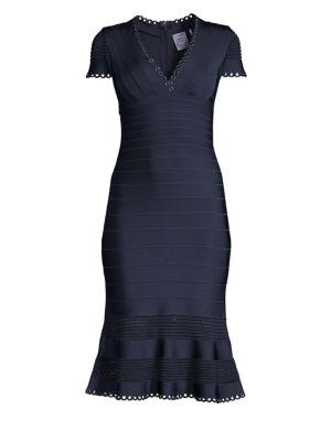 Hervé Léger Peplum Style Dress - Blue, Pacific Blue Combo
