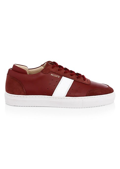 Image of Sleek leather sneakers flaunt contemporary perforations and contrasting stitched stripe patches. Leather upper. Round toe. Lace-up vamp. Leather lining. Rubber sole. Imported.