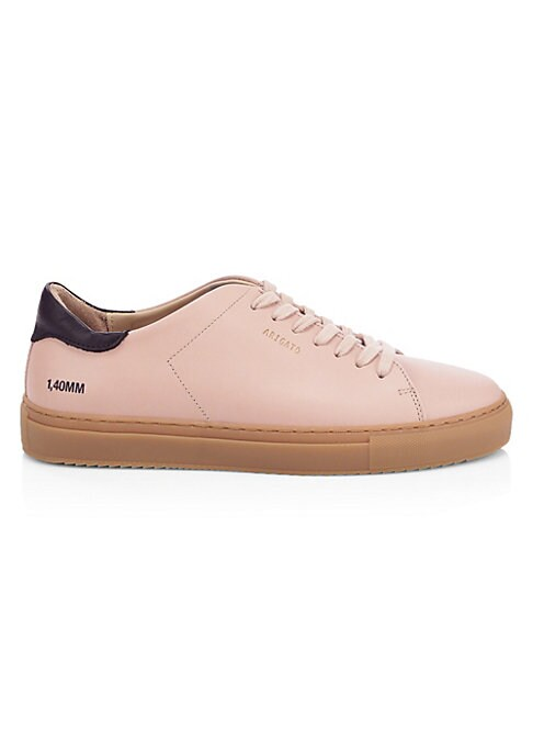 Image of Sleek low tops finished in pastel leather. Leather upper. Lace-up vamp. Round toe. Leather lining. Rubber sole. Made in Portugal.