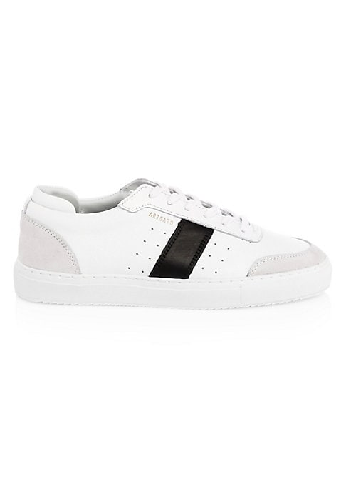 Image of Perforations and stitched side stripes elevate sleek leather sneakers. Leather upper. Round toe. Lace-up vamp. Leather lining. Rubber sole. Imported.