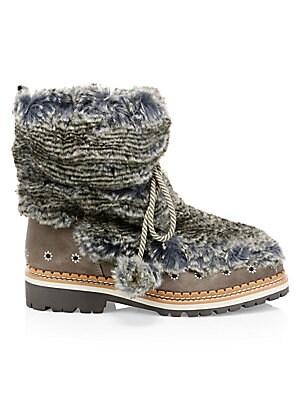33a25f6a8 Sam Edelman - Bowen Bistro Suede and Faux Fur Hiking Boots - saks.com