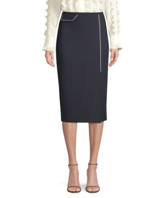 ESCADA Side-Slit Wool-Blend Midi Pencil Skirt W/ Contrast Piping in Navy