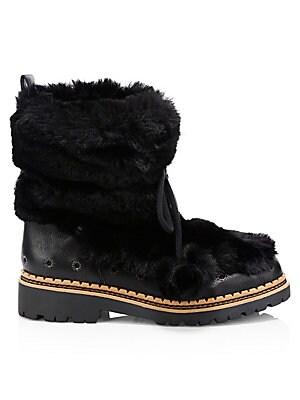 27b4d63383711b Sam Edelman - Blanche Faux Fur and Leather Tassel Boots - saks.com