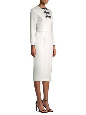 ESCADA Bow-Front Long-Sleeve Wool Sheath Midi Dress in Natural