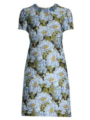 ESCADA Jewel-Neck Short-Sleeve Floral-Jacquard Day Dress in Black