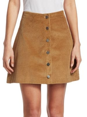 Prewitt Button-Front Corduroy Mini Skirt, Camel