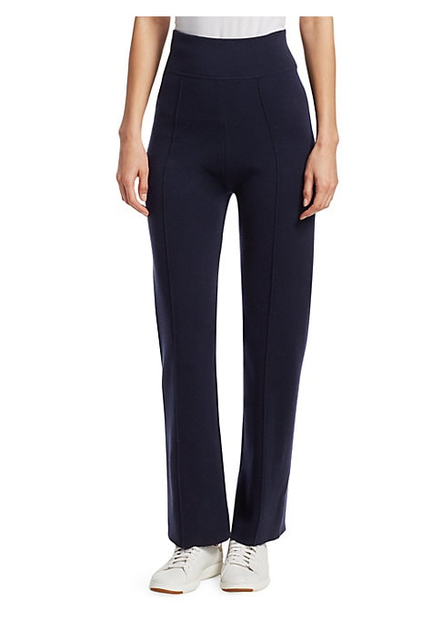 """Image of Relaxed wool trousers with subtle seaming detail. Banded waist. Zipper and snap closure. Rise, about 12"""".Inseam, about 38"""".Wool. Dry clean. Imported. Model shown is 5'10"""" (177cm) wearing US size Small."""