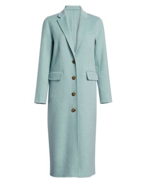 Russel Long Wool Pea Coat, Celadon