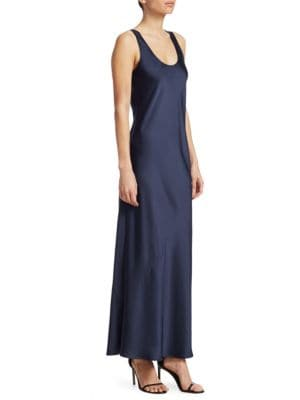 Malta Long Scoop-Neck Sleeveless Satin Slip Dress, Royal