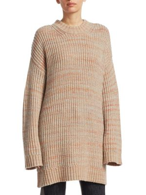 Orra Crewneck Oversized Ribbed Melange-Knit Pullover Sweater Tunic, Multi