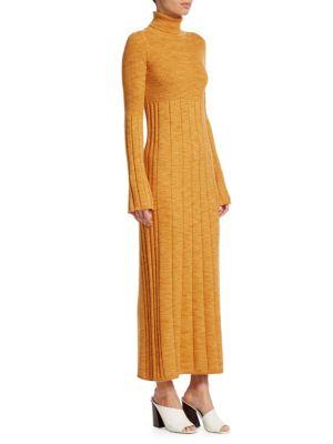 Clementine Space-Dye Long Extrafine Wool Turtleneck Dress, Marigold