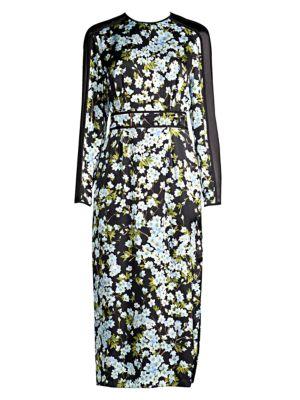 ESCADA Long-Sleeve Floral-Print Hammered Silk Midi Dress W/ Chiffon Inset in Multi