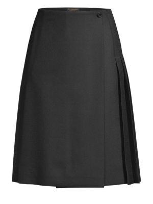 Pleated Wool-Twill Skirt, Black