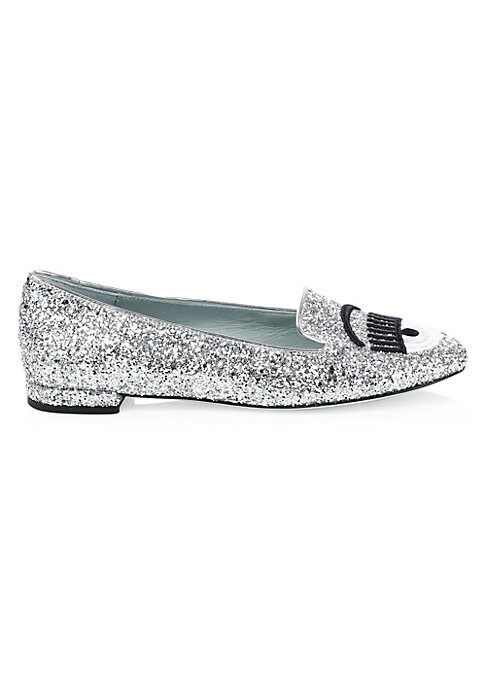Image of From the Saks IT LIST. SILVER. Shine bright in the season's new neutral. Bold eye embroidery will provide a quirky contrast to glamorous loafers. Glitter leather upper. Almond toe. Slip-on style. Leather lining and sole. Made in Italy.