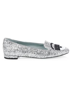 Glitter Leather Loafers by Chiara Ferragni