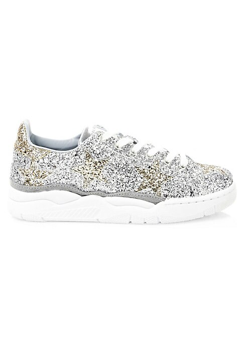 Image of From the Saks IT LIST. SILVER. Shine bright in the season's new neutral. Sporty sneakers receive a shimmery transformation with its glitter finish. Glitter leather upper. Round toe. Lace-up vamp. Leather lining. Rubber sole. Made in Italy.