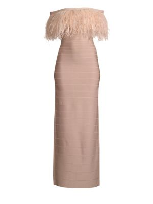 HERVE LEGER Off-The-Shoulder Feather-Trimmed Bandage Gown in Bare