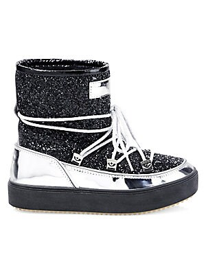 "Image of Shimmering snow boots feature a bold metallic trim. Canvas upper Round toe Lace-up vamp Textile lining Rubber sole Made in Italy SIZE Shaft, 4"" Leg opening, 10"". Women's Shoes - Contemporary Womens Shoe > Saks Fifth Avenue. Chiara Ferragni. Color: Black."