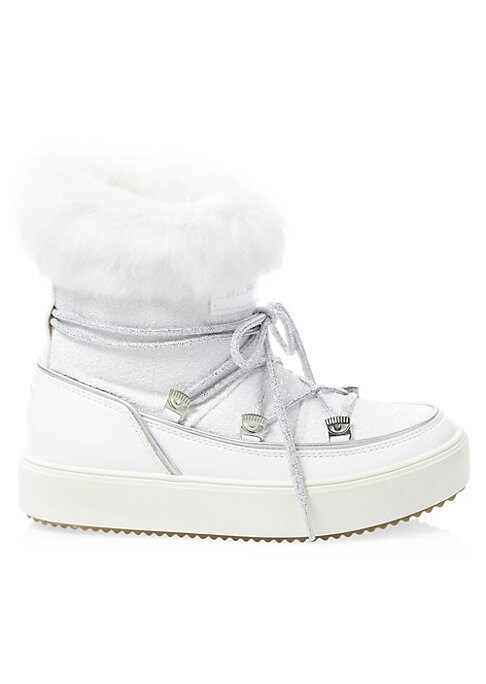 Image of Alpine-inspired leather snow boots with playful glitter accents and cozy rabbit fur. Glitter leather upper. Round toe. Lace up vamp. Padded insole. Rubber sole. Fur type: Dyed rabbit fur. Fur origin: Italy. Hand wash. Made in Italy. SIZE. Flat platform he