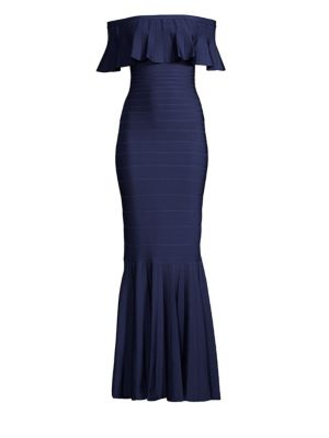 Off-The-Shoulder Trumpet Bandage Evening Gown W/ Ruffled Overlay, Classic Blue