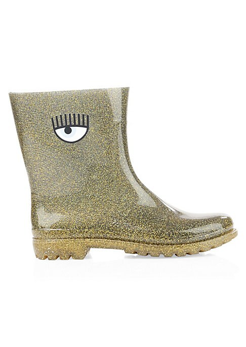 """Image of Bold rain boots elevated with glitter and signature eye graphic. Polyurethane upper. Almond toe. Pull-on style. Textile lining. Polyurethane sole. Made in Italy. SIZE. Block heel, 1"""".Shaft, 4"""".Leg opening, 13""""."""