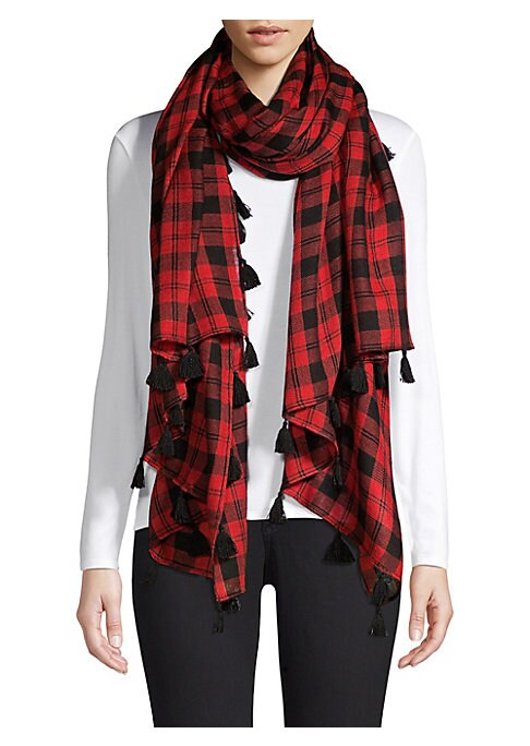 """Image of Check scarf with tassel fringe crafted of a lightweight blend of wool and silk. Wool/silk. Dry clean. Imported. SIZE.40""""W x 84""""L."""
