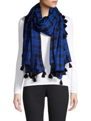 BAJRA Check Wool & Silk Tassel Scarf in Cobalt Black