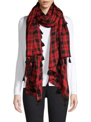 BAJRA Check Wool & Silk Tassel Scarf in Red Black