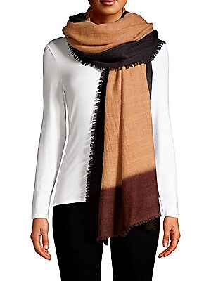 "Image of Simple color block shawl scarf crafted of lightweight cashmere with subtle fringe detail. Cashmere Dry clean Imported SIZE 50""W x 90""L. Soft Accessorie - Day And Evening Wraps. Bajra. Color: Brown Black."