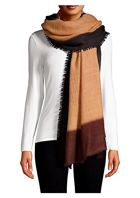 """Image of Simple color block shawl scarf crafted of lightweight cashmere with subtle fringe detail. Cashmere. Dry clean. Imported. SIZE.50""""W x 90""""L."""