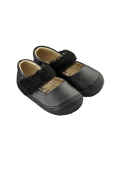 Image of Leather Mary Jane's with faux-fur trim. Leather upper. Round toe. Slip-on style. Rubber sole. Fur type: Faux. Spot clean. Imported.