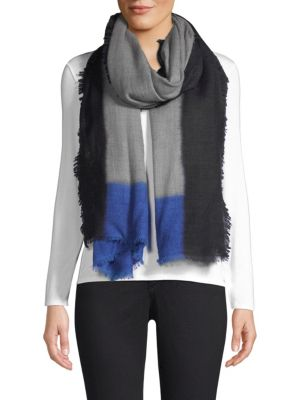 BAJRA Color Block Cashmere Scarf in Grey Blue