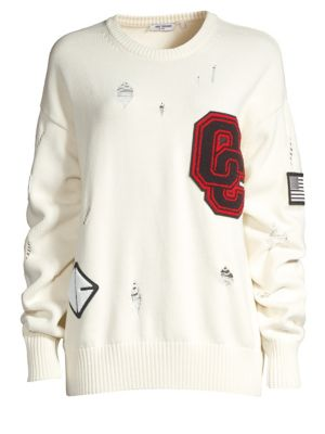 OPENING CEREMONY Varsity Appliquéd Distressed Cotton-Blend Sweater in 1000 White