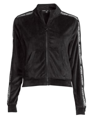Intarsia-Trimmed Velour Track Jacket, Black