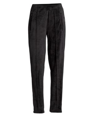 Velour Logo Track Pants in Black
