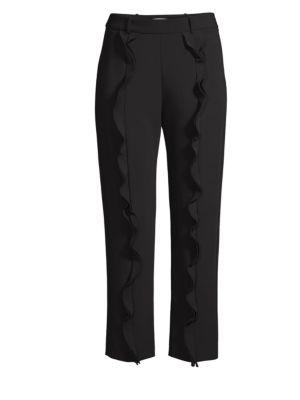 William Stretch Ruffle Pants, Black