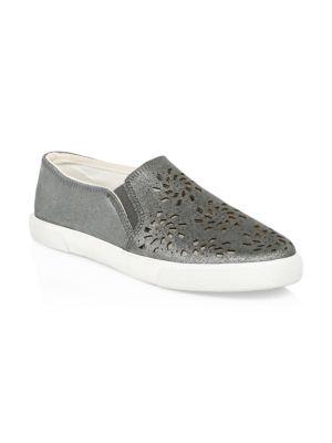 Violet Leather Slip-On Sneakers, Grey